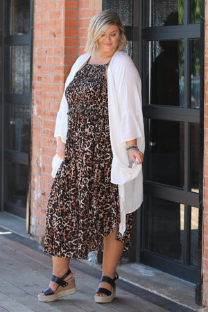 Best By Far Leopard Midi Plus Dress