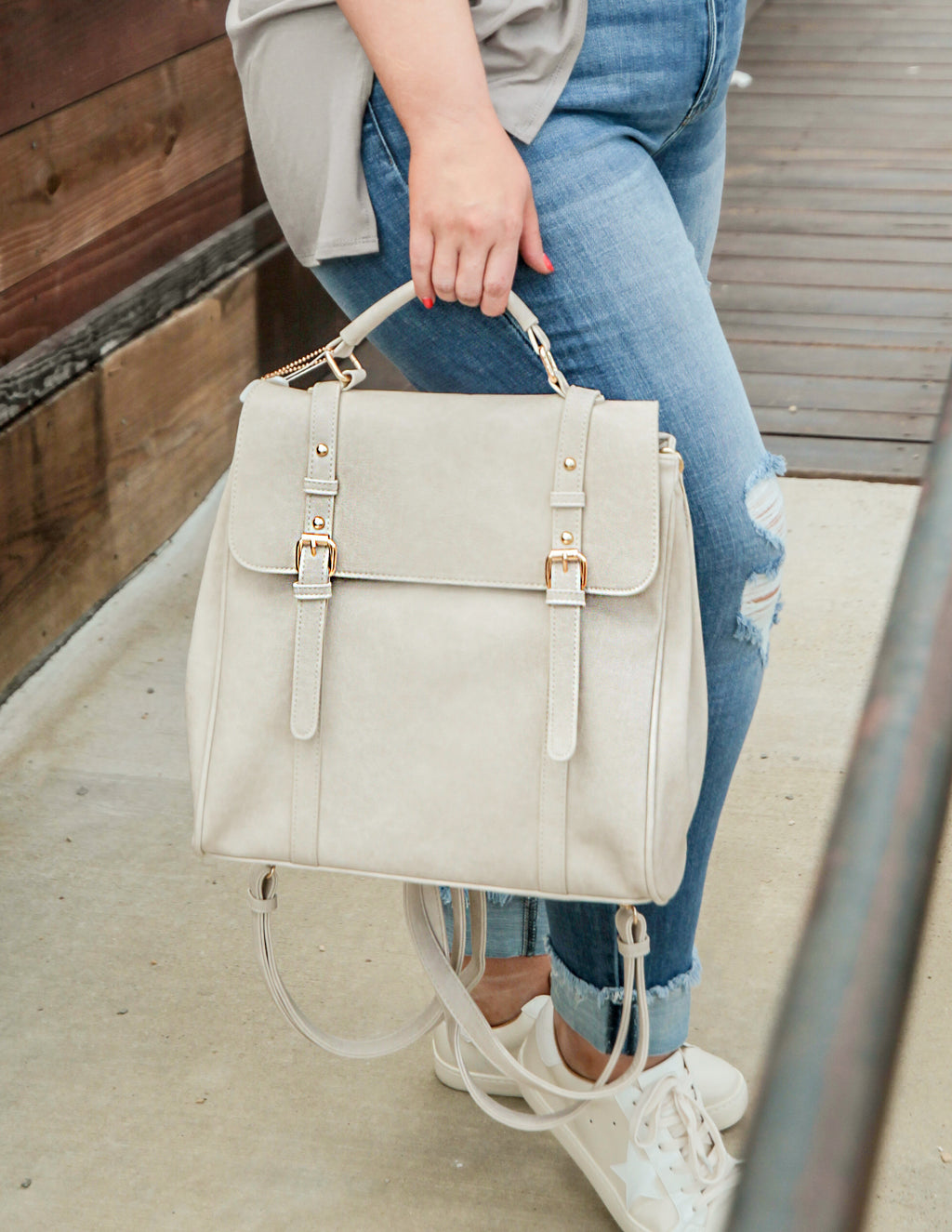 Beleme Cream Convertible Backpack