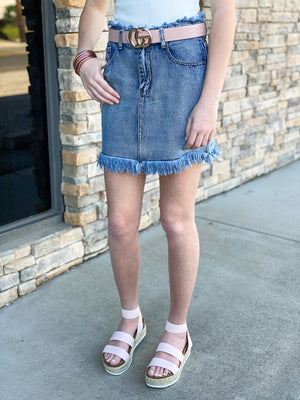 In The Know Denim Skirt