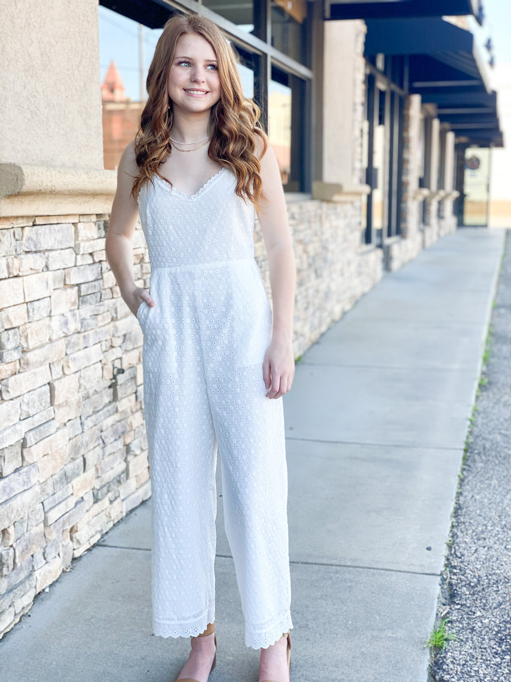 Caught My Eyelet Jumpsuit