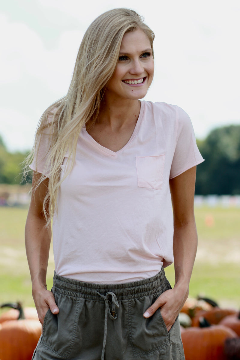 Beverly V-Neck Pocket Tee