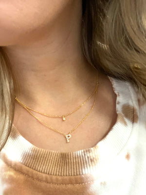 Sparkle Double Layered Initial Necklace