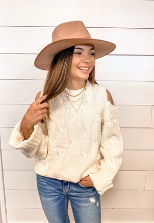 Peek A Boo Cold Shoulder Sweater