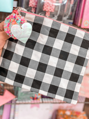 Gingham Pom Pouch