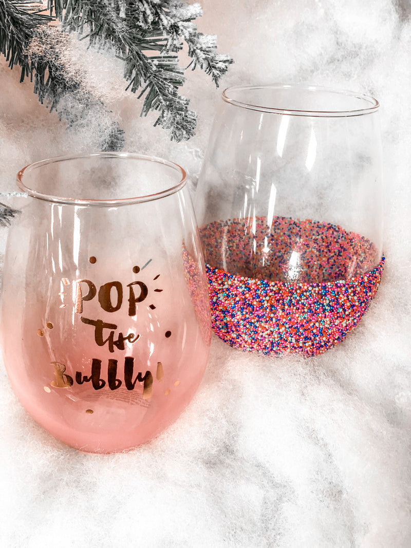 Stemless Multi Bead Wine Glass