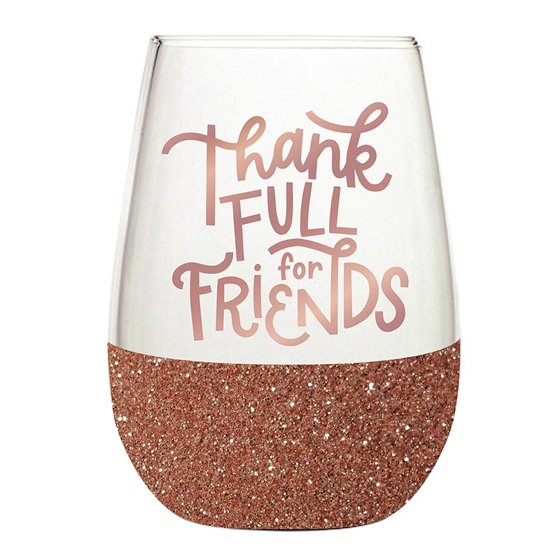 Thankful for Friends Wine Glass