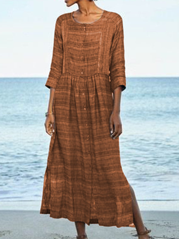Crew Neck Women Dresses Beach Holiday Paneled Dresses