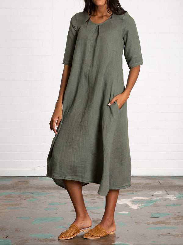 Plus Size Pockets Linen Women Summer Midi Dresses