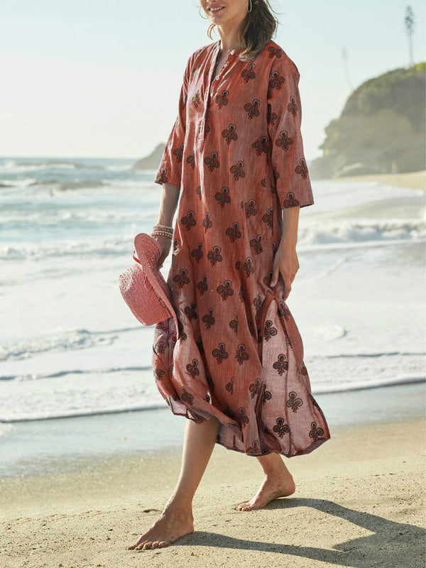 Printed casual cotton and linen dress