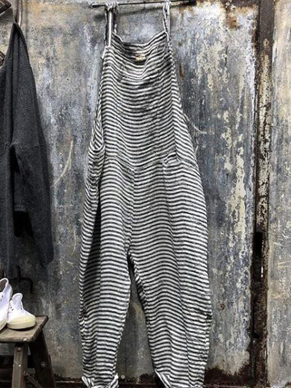 Casual Striped Sleeveless Jumpsuits