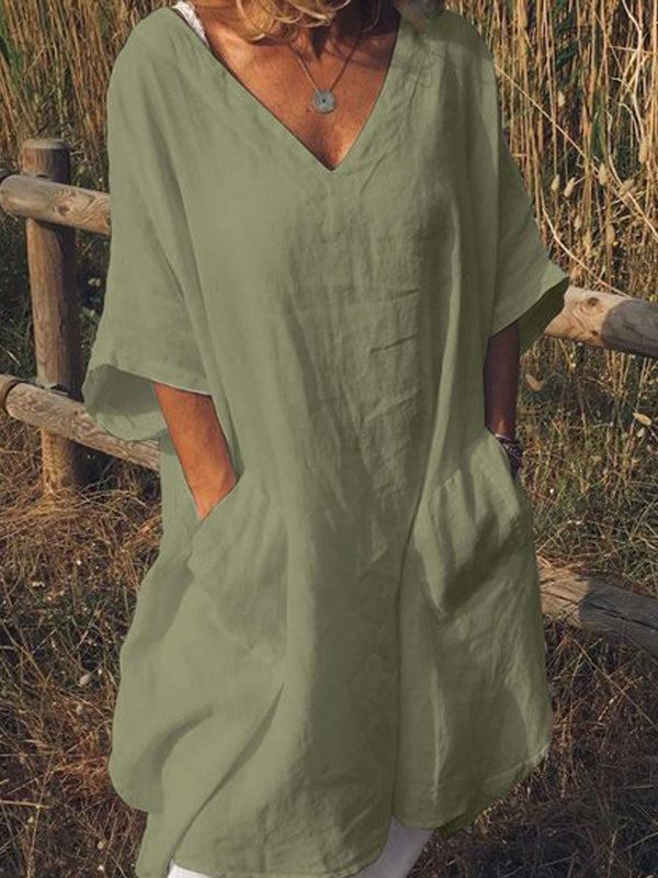 Plus Size Casual V Neck Half Sleeve Pockets Dresses