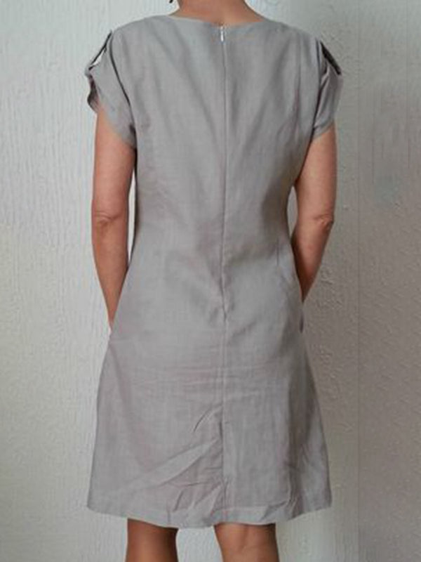 Pockets Buttoned-decor Zipper Back Shift Linen Dresses