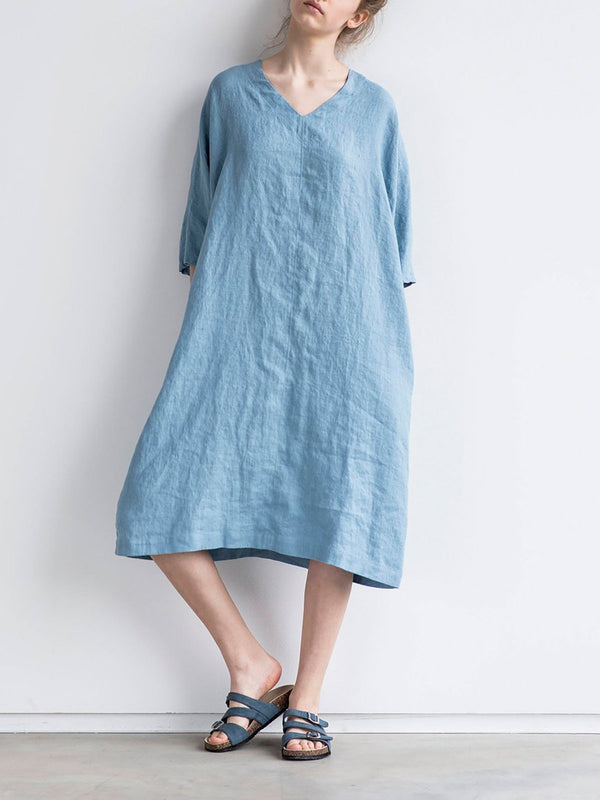 Washed linen Oversize V Neckline Loose Cozy Linen Dress