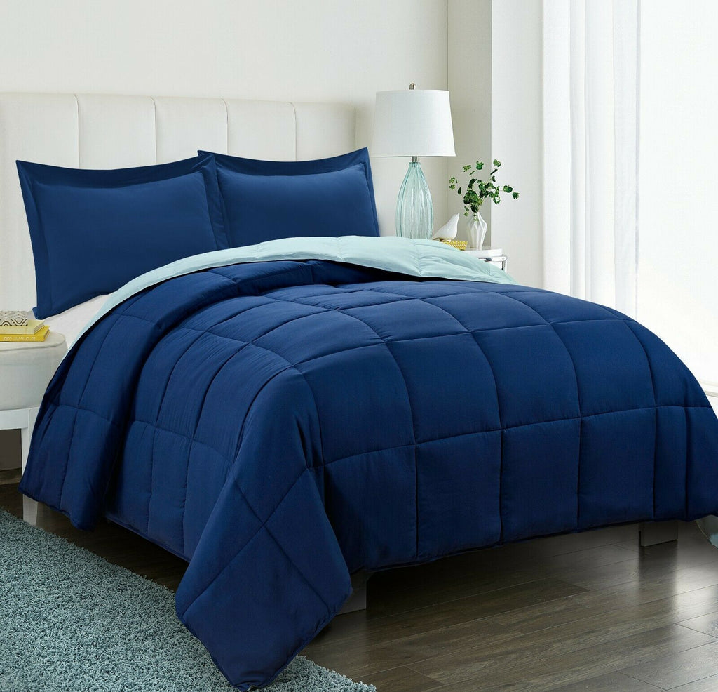 Blue Comforter Set 3 Pcs with Shams All Season Reversible Comforter