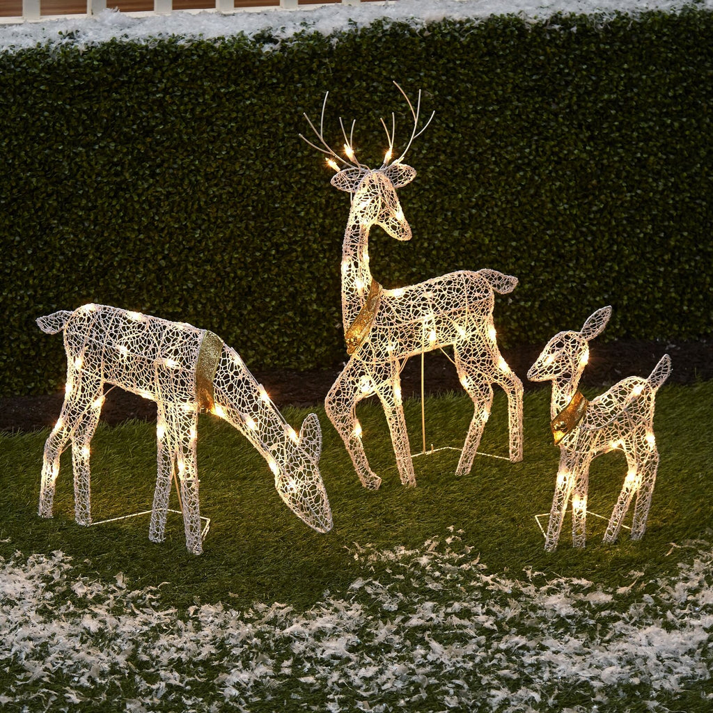 3 Pc Lighted Deer Family Outdoor Christmas, Winter Decoration for Front Yards