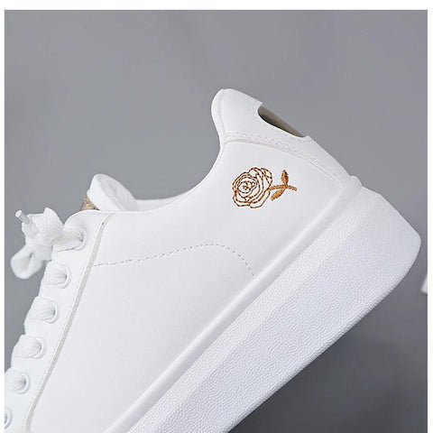 Ladies White Platform Trainer Casual Shoes