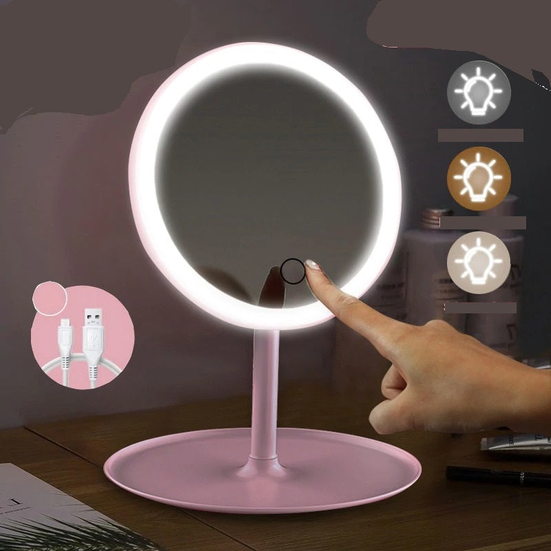 Magnified Lighted Makeup Mirror, 22 LED + Magnifier / White / US