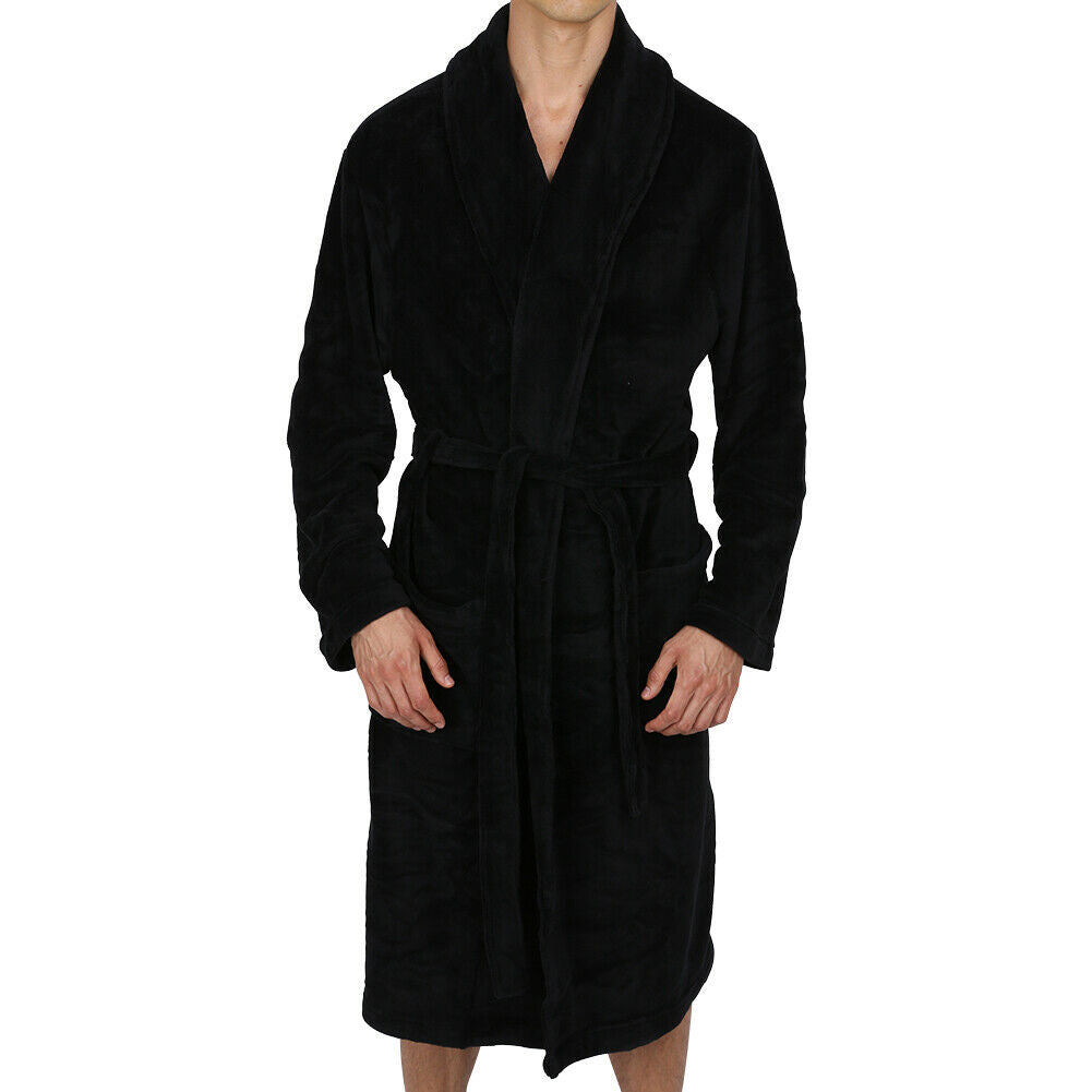 Mens robe shawl Collar Super Soft Bathrobe Heavy Weighted