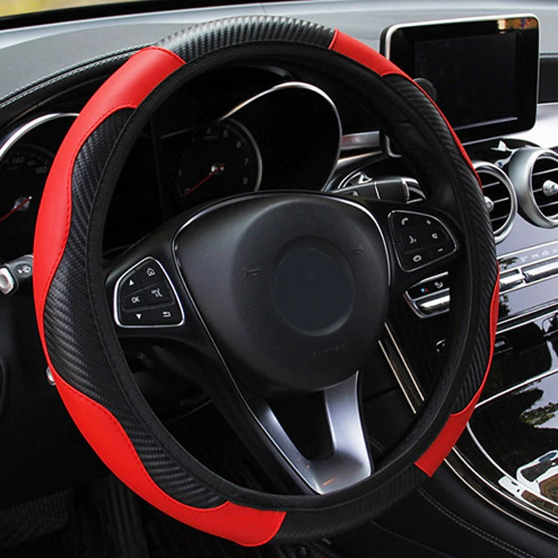 Premium-Leather Steering Wheel Covers, Red