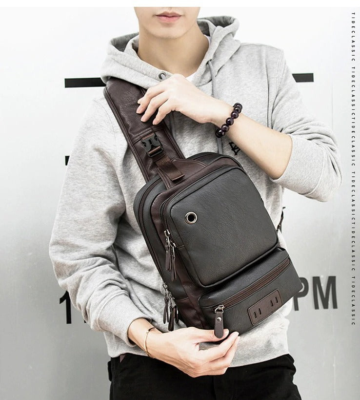 Vintage Leather Sling Backpack for Men