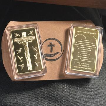 Rare Ten Commandments Jesus Gold Bar