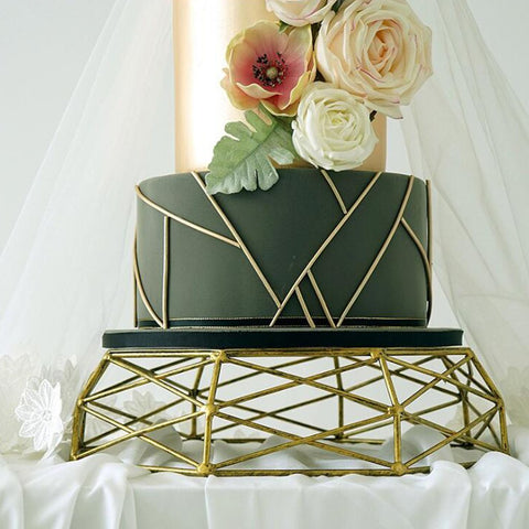 Geometric Wrought Iron Gold/Sliver Cake Stand for Wedding - Balma Home