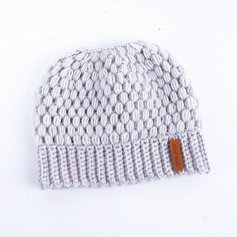 Ponytail Beanie Messy Bun Beanie Winter Hat With Hole For Ponytail