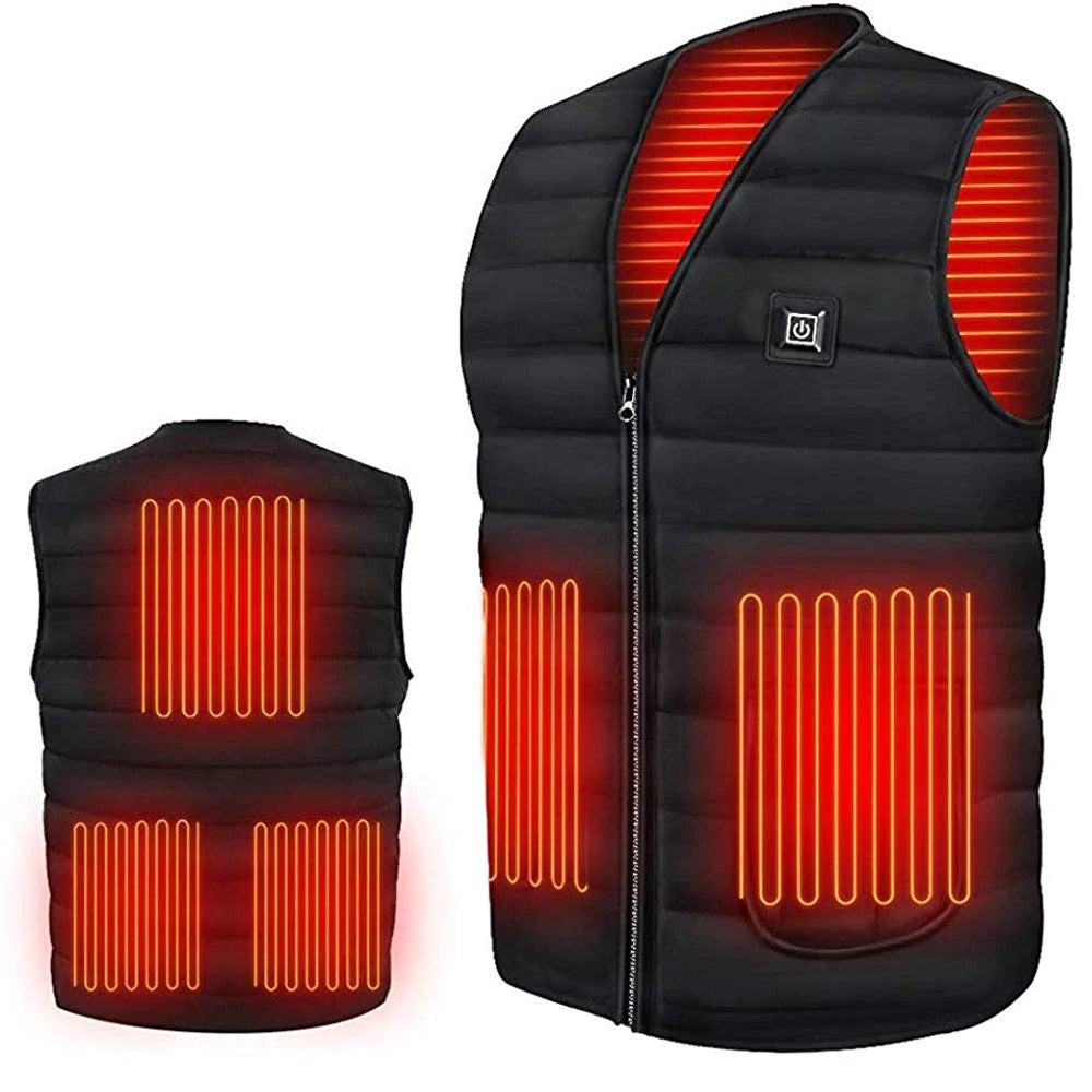 Heated Vest Electric Jacket Coat USB Warm Heat Pad Winter Body Warmer Unisex, X-Large