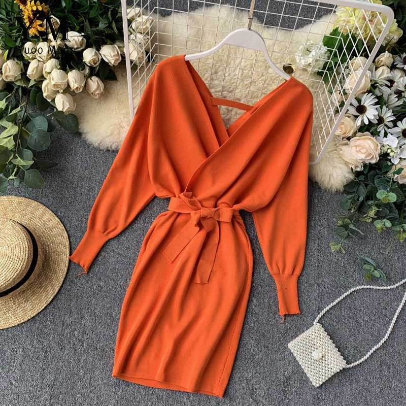 Autumn Winter Women Rust Sweater Dress