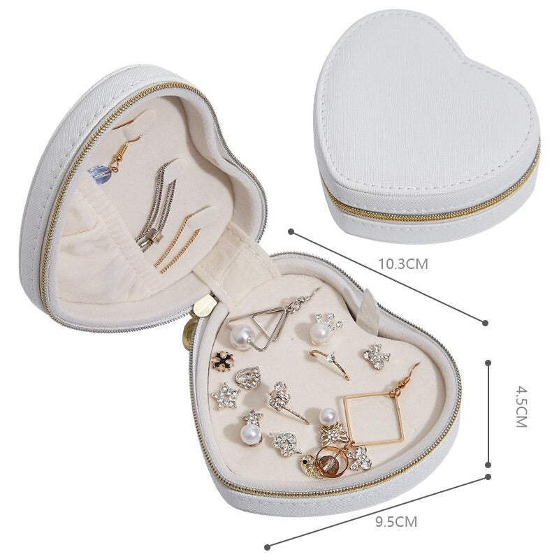 Small Travel Jewelry Case Heart Shaped