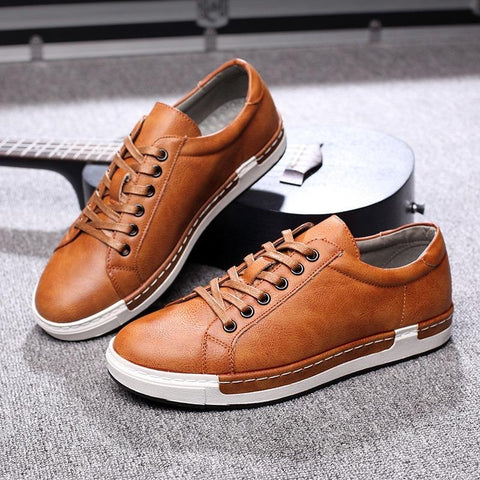 Soft Leather Mens Brown Trainers