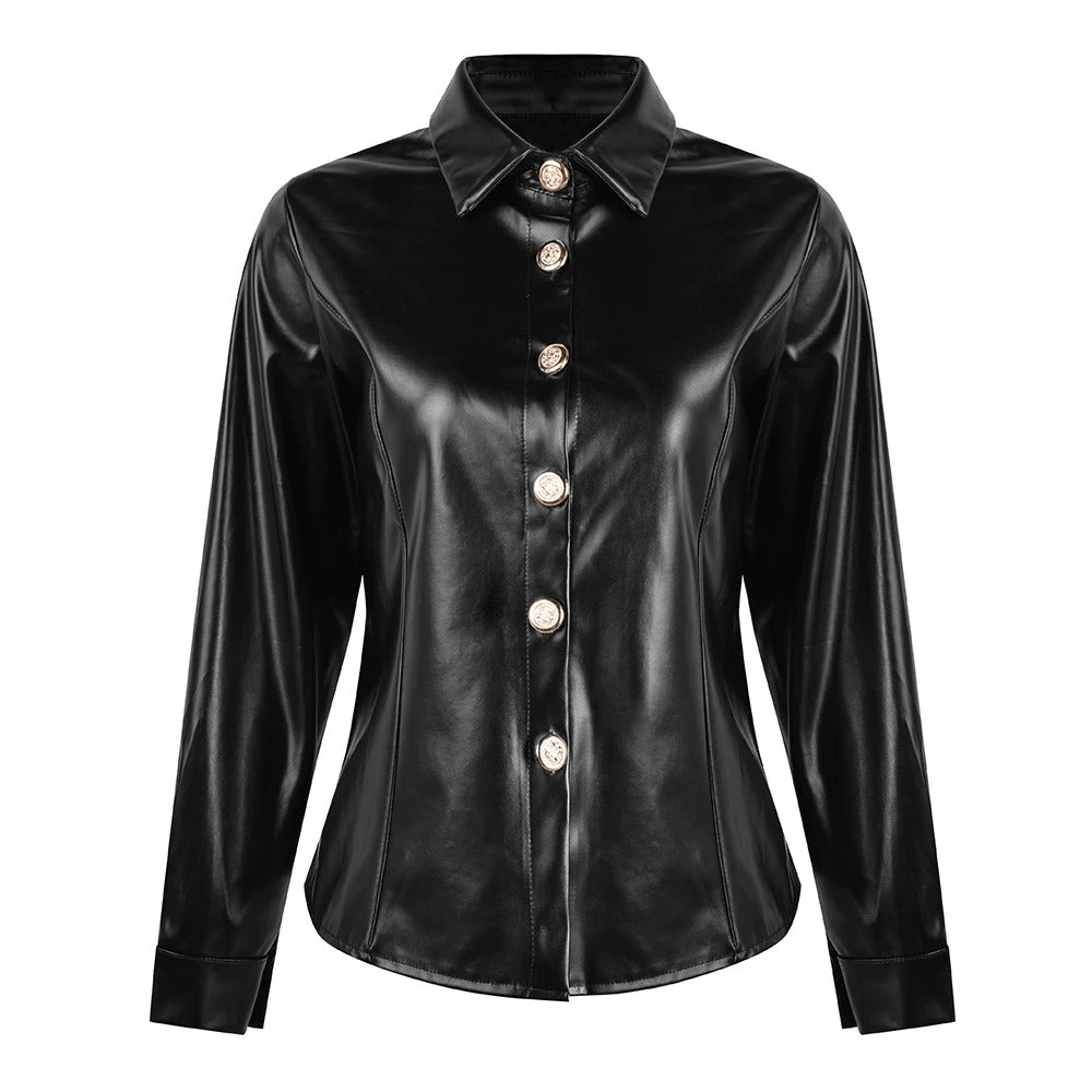 Faux Leather Shirt Blouse Women Long Sleeve