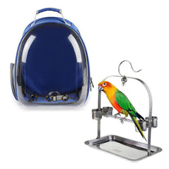 Clear Cover Parrot Bird Carrier Backpack with Stainless Steel Perch Stand & Feeder