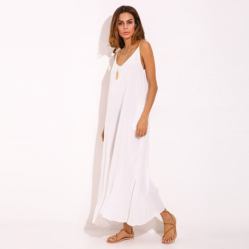 Women Strapless V Neck Long White Plain Maxi Dress