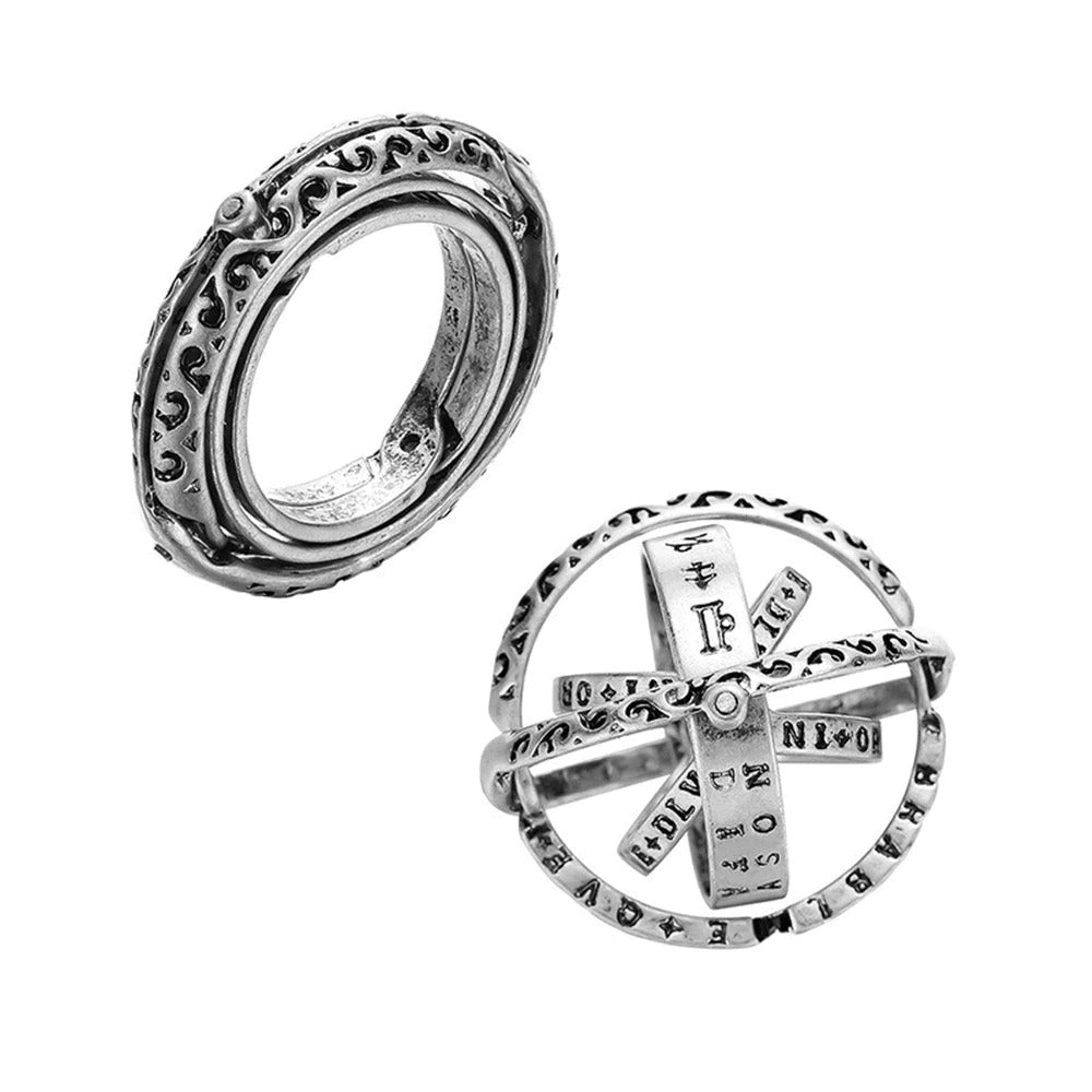 Astronomical Sterling Silver Vintage Armillary Sphere Foldable Zodiac Ring, 7 / Vintage Silver