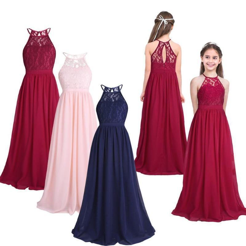 Adorable Halter Pleated Girls Party Lace Long Dresses