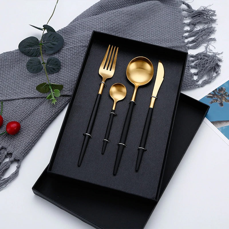 4pcs Gold Black Dinnerware Set Stainless Steel Luxury Cutlery Set