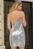 Image of Deep V Neck Silver Sequin Backless Mini Dress - Balma Home