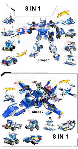 8 IN 1 Robot Aircraft Car City Police SWAT Building Block - Balma Home