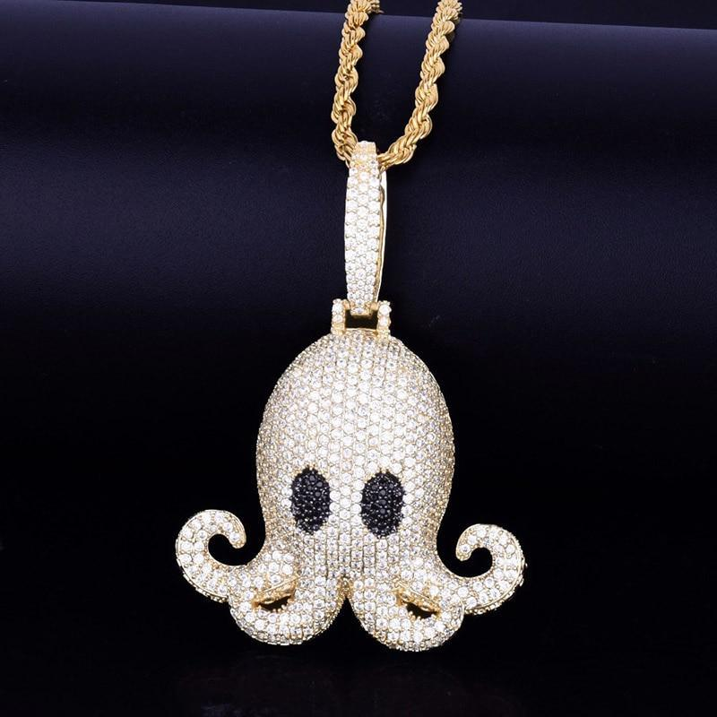 Octopus Pendant Chain Micro Pave Zircon Animal Iced Out Necklace