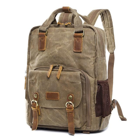 Waterproof Waxed Canvas Camera Backpack Fit 15.6 Inches Laptop