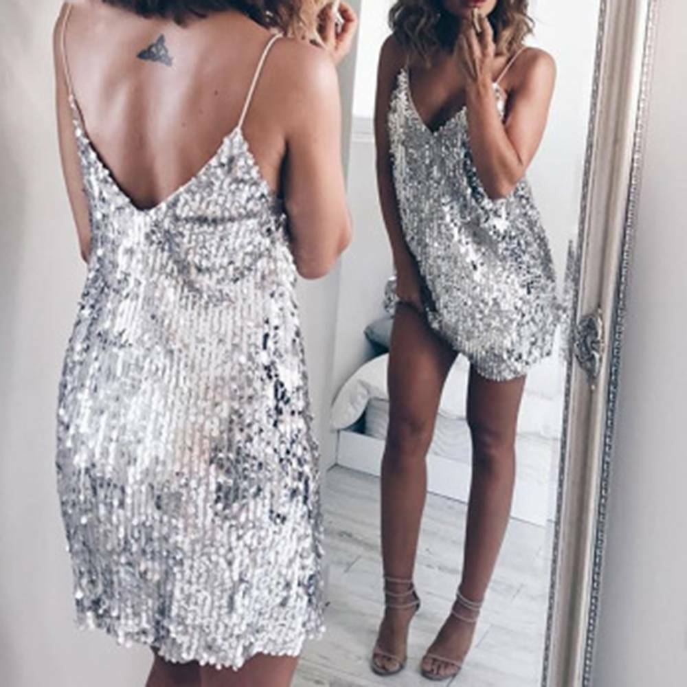 Deep V Neck Silver Sequin Backless Mini Dress l Sexy Mini Dress Deep V Neck