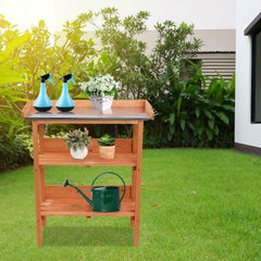 3 Tier Shelves with Hooks Potting Bench