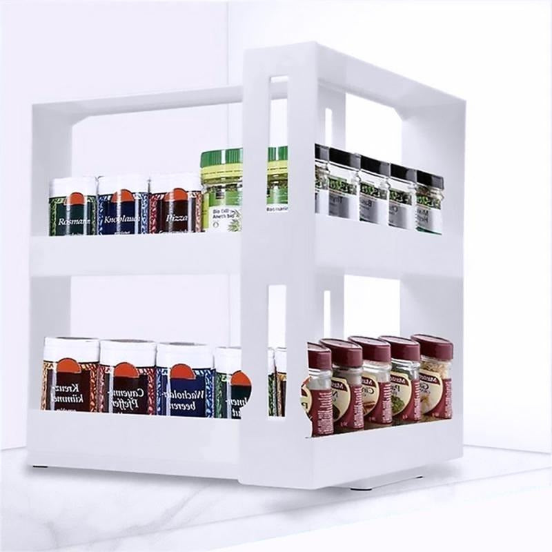 1Set Multifunction Rotating Jars Spice Rack Cabinet
