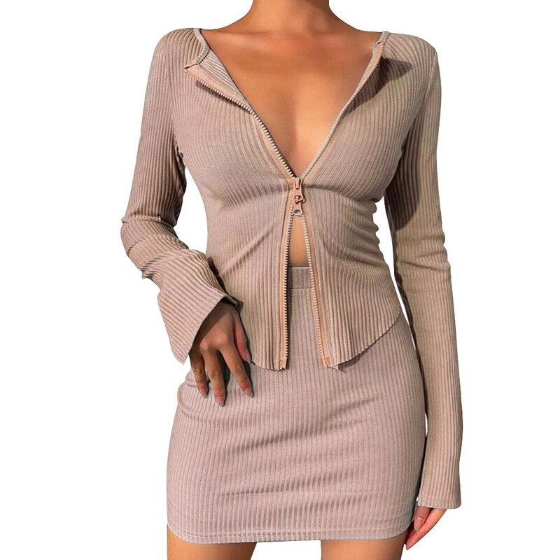 Women Sexy Double Zipper Knitted Sweater Skirt Set