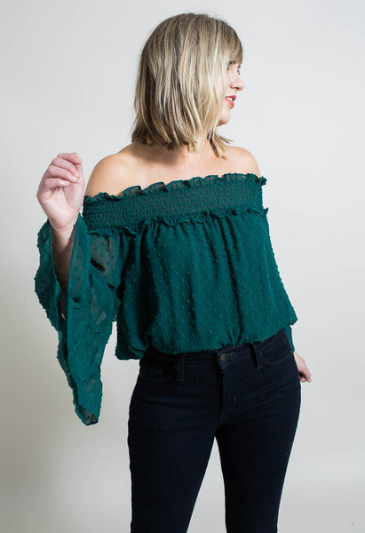 Ruffled Bare Shoulder Blouse