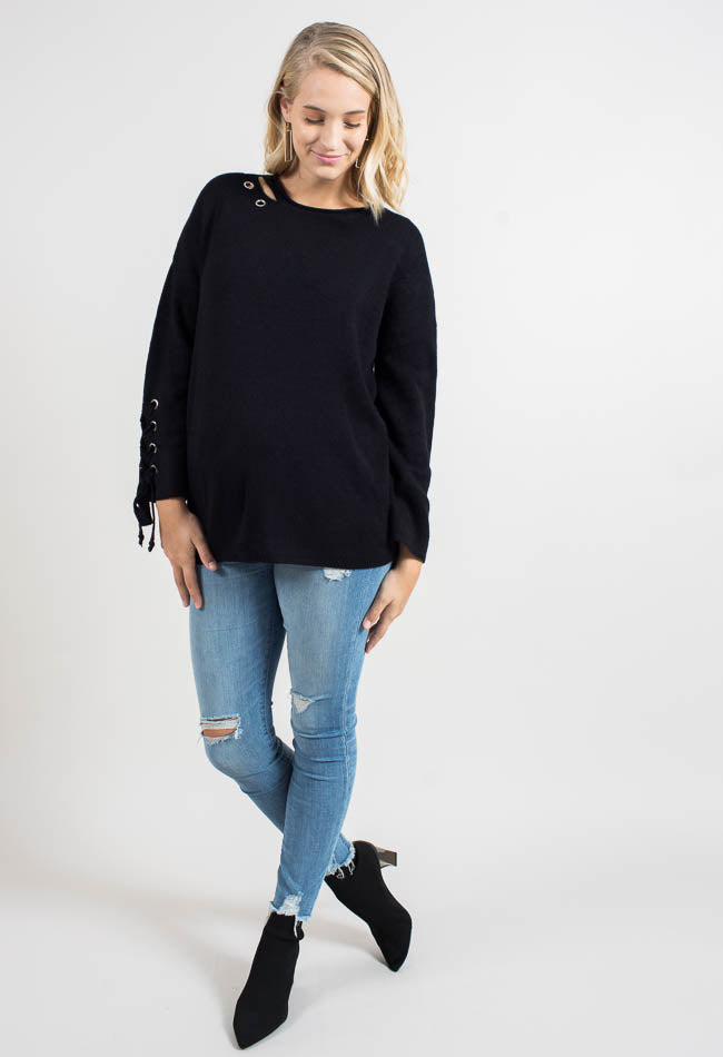 Black Grommet Sweater