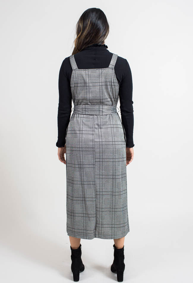 Micro Plaid Midi Dress- Black- Common Assembly