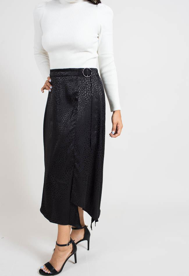 Black Leopard Midi Skirt