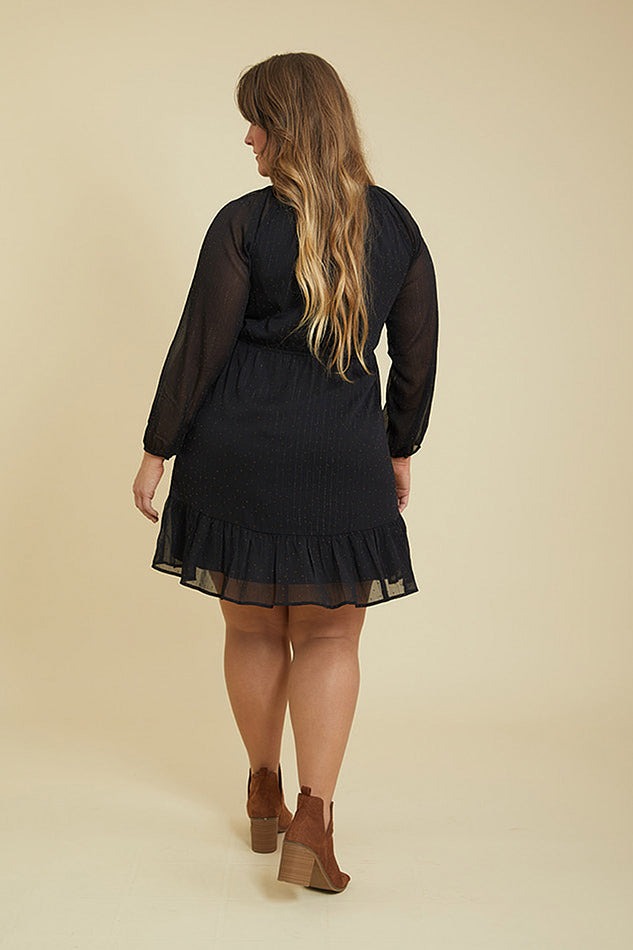 Penny Proper Black Ruffle Dress